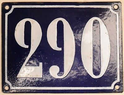 Large old French house number 290 door gate plate plaque enamel steel metal sign