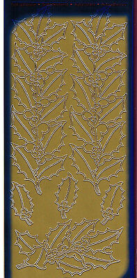 GOLD HOLLY BERRY FLORAL CHRISTMAS DESIGN TRIM ORNAMENT CARDMAKING SCRAPBOOKING