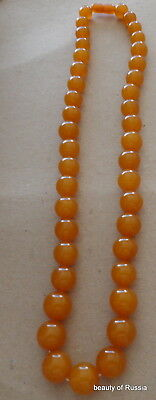 Antique Natural  butterscotch egg yolk Baltic Amber Round  Beads Necklace   71gr
