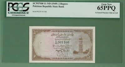 Pakistan 1949 Rs.2 Minar Note- Zahid Hussain Sign P-11 Crisp Unc. Extremely Rare