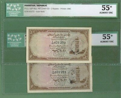 Pakistan 1949 Rs.2 Minar Notes 2 Consecutive P-11 Au Graded Extremely Rare