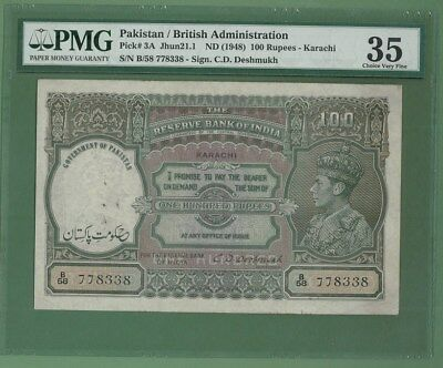 PAKISTAN OVPT INDIA Rupee 100 1947 KING GEORGE  P-3A PMG 35 RARE!!!!