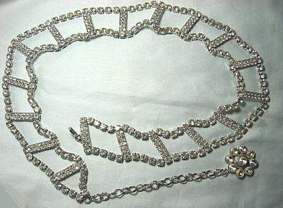 """Magnificent Rhinestone Belt  40"""" end to end 1 1/2"""" wide"""
