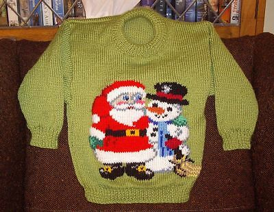 Christmas Santa Snowman  Jumper  New Hand Knitted Size 4/5
