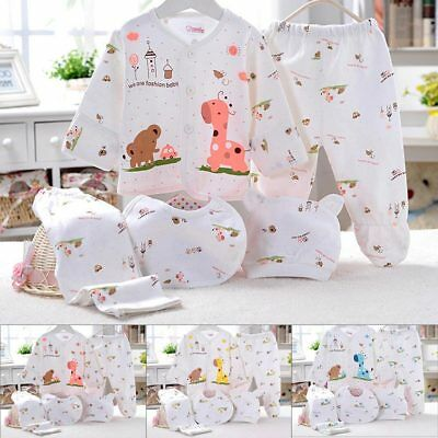 5pc Cotton Newborn Baby clothes Sets 0-3 Month Boys Girls sleepwear Pants New US