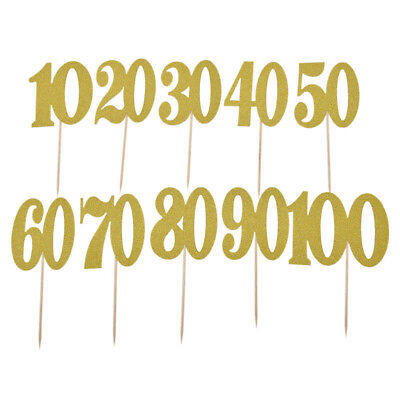 1Pc 10 20 30th 40 50 60 70 80 90 100 Years Birthday Gold Cake Topper Party Decor