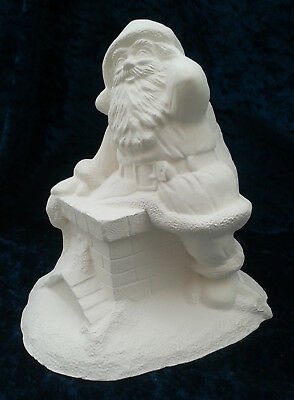 """Paint Your Own Ceramic Bisque - Santa Climbing Down Chimney Money Box  6"""" tall"""