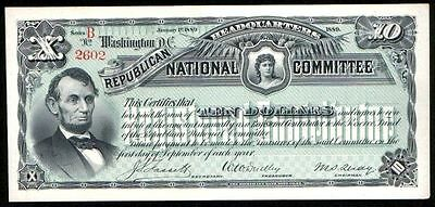 REPRINT 1-OF-A-KIND 1889 PROOF $10 w LINCOLN ISS BY REPUBLICAN PARTY Original Av