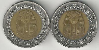 2 BI-METAL 1 POUND COINS w/ KING TUT from EGYPT DATING 2007 & 2010