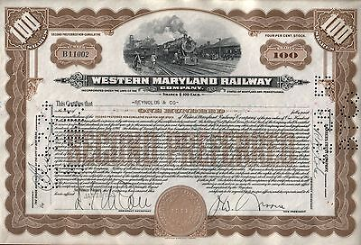 RARE BROWN 100s WESTERN MARYLAND RR STOCK w 4 SIGS! FACE VAL $10,000! ENGR 1917!