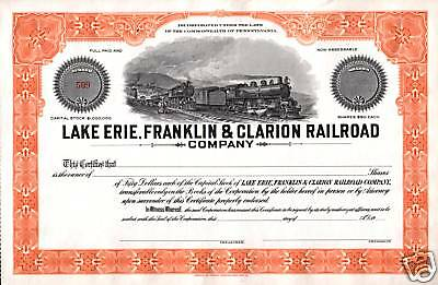 MINT LAKE ERIE FRANKLIN CLARION RR STOCK w 2 LOCOS! ORANGE SUNSHINE! ONLY HERE!