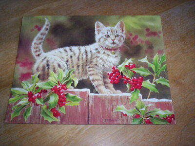 18 Kitten and Holly Christmas Cards by Susan Bourdet   Lang Cards NIB