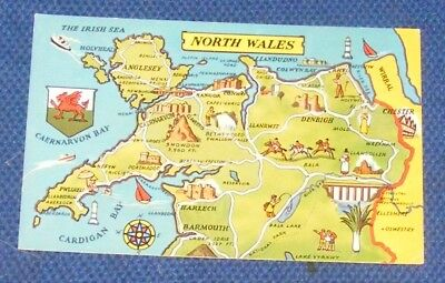 North Wales Map Postcard
