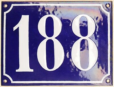 Large old French house number 188 door gate plate plaque enamel steel metal sign