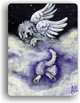 CERAMIC TILE MAGNET RECTANGULAR GREAT PYRENEES HEAVENLY HIDE by Amy Bolin