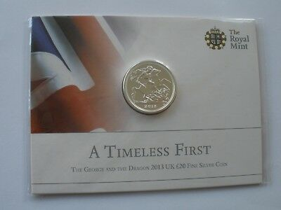 2013 £20 Fine Silver Coin - Royal Mint Card - Sealed - Uk Post Free