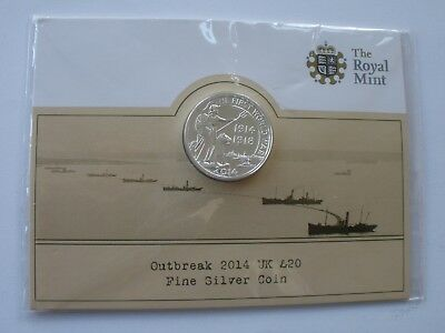 2014 £20 Fine Silver Coin - Royal Mint Card - Sealed - Uk Post Free