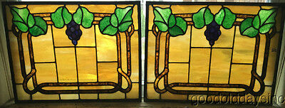 "2 of 4 Beautiful Antique Leaded Stained Glass Grape Vine Windows 24"" by 18"""