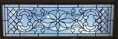 "Antique Stained Leaded Glass Transom Window w/ Jewels & Bevels  47"" x 17 c,1890"