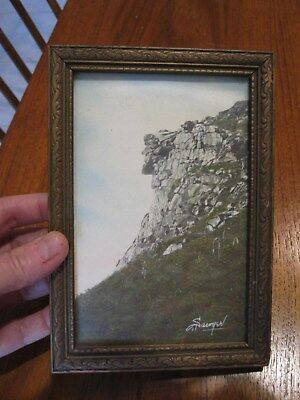 Signed Charles Sawyer Hand Tinted Photograph The Old Man Of The Mountain Nh