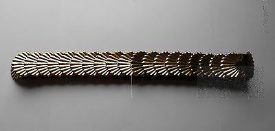 Vintage 70's 80's Gold Brass Metal Fish Scale Scallop Shell Expansion Belt