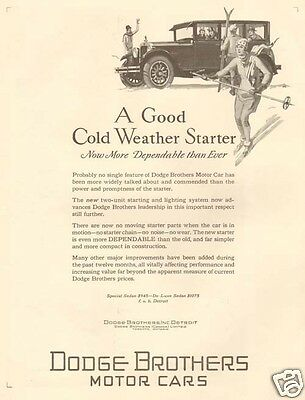 Antique 1927 DODGE BROTHERS Ski Resort Skiing Girl COLD WEATHER Winter CAR AD