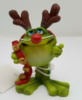 Doug Harris Adorable Christmas Frog Toadilly Yours dressed like Rudolph Fig MIB