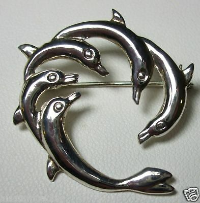 5 Dolphin Fish Circle Pin Brooch Sterling Silver New Cute & Unique