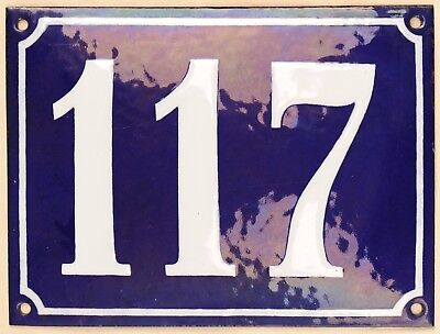 Large old French house number 117 door gate plate plaque enamel steel metal sign