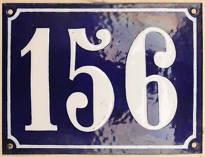 Large old French house number 156 door gate plate plaque enamel steel metal sign