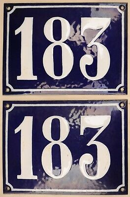 Large old blue French house number 183 door gate wall street sign plate plaque