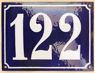 Large old French house number 122 door gate plate plaque enamel steel metal sign