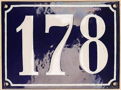Large old French house number 178 door gate plate plaque enamel steel metal sign