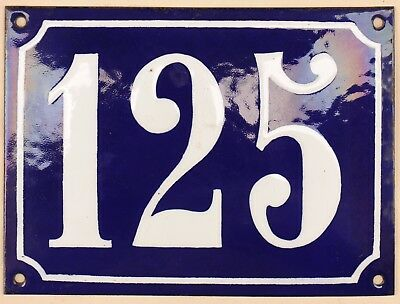 Large old French house number 125 door gate plate plaque enamel steel metal sign