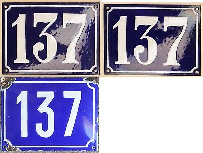 Large old blue French house number 137 door gate plate steel enamel sign 1970s