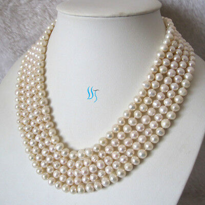 """100"""" 6-8mm Freshwater Pearl Necklace Strands Jewelry——MORE COLORS"""