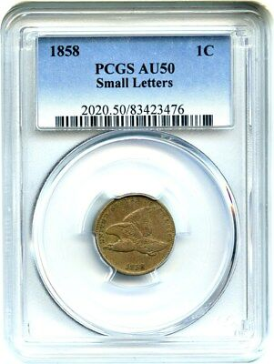1858 Flying Eagle 1c PCGS AU50 (Small Letters) Better Variety & Great Type Coin