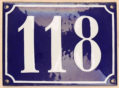 Large old French house number 118 door gate plate plaque enamel steel metal sign