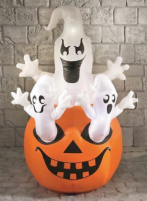1.6m Giant Scary Inflatable Light Up Halloween Ghosts on Pumpkin Decoration Prop