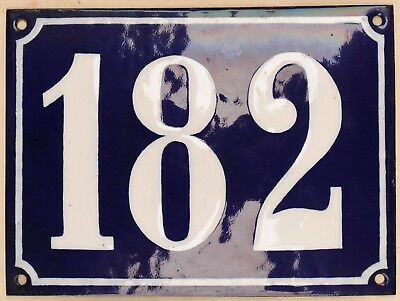 Large old French house number 182 door gate plate plaque enamel steel metal sign