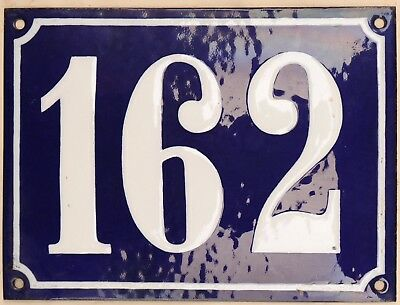 Large old French house number 162 door gate plate plaque enamel steel metal sign