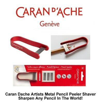 Caran Dache Artist Pencil Peeler Universal Pencil Sharpener & Blades (Red)