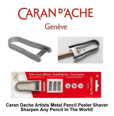 Caran Dache Artist Pencil Peeler Universal Pencil Sharpener & Blades (Silver)