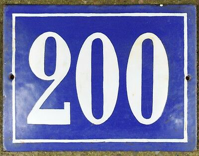 Large French house number 200 door gate plate plaque enamel steel metal sign