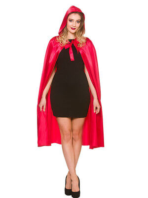 Soft Satin Little Red Riding Hood Cape & Hood Fairytale Halloween Fancy Dress