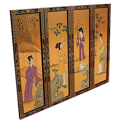 Oriental Gold Leaf Wall Pictures Chinese Crane and Geisha Designs