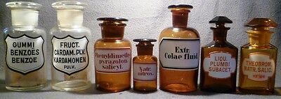 Rare COLLECTION OF CONTINENTAL AMBER PHARMACY APOTHECARY CHEMIST BOTTLES JARS