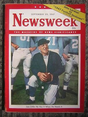 9/29/1947 Newsweek - The Magazine of News Significance with Lou Little Cover