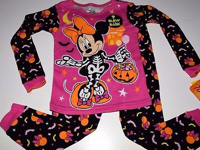 Disney Minnie Mouse Halloween Toddler girls 2T 3T 4T 5T pajamas glow in the dark