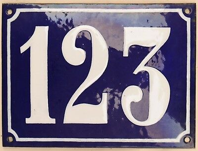 Large old French house number 123 door gate plate plaque enamel steel metal sign